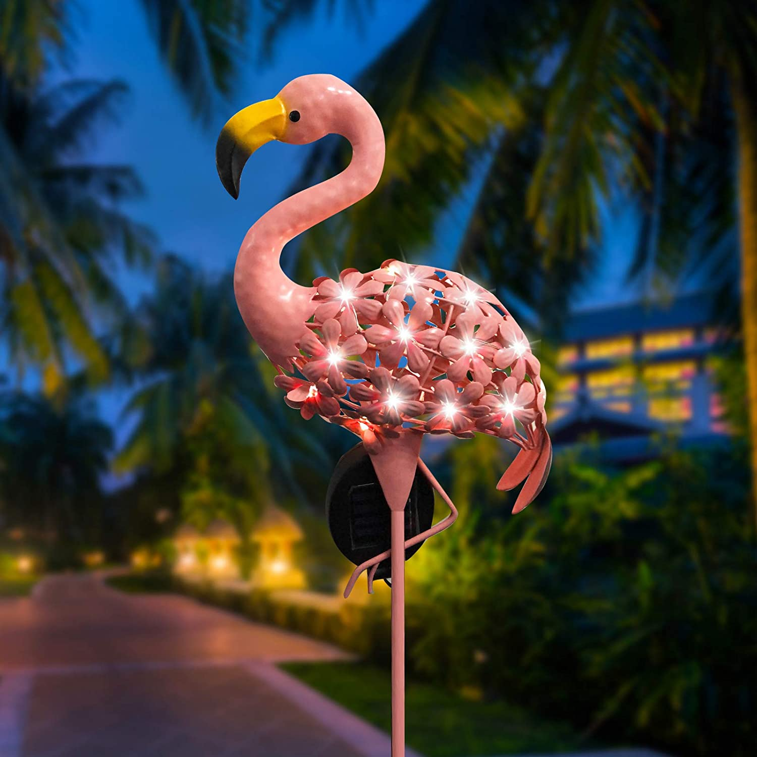 SANKUU Garden Solar Lights, Flamingo Pathway Outdoor Stake Metal Stakes with LED Lights for Lawn, Patio or Courtyard