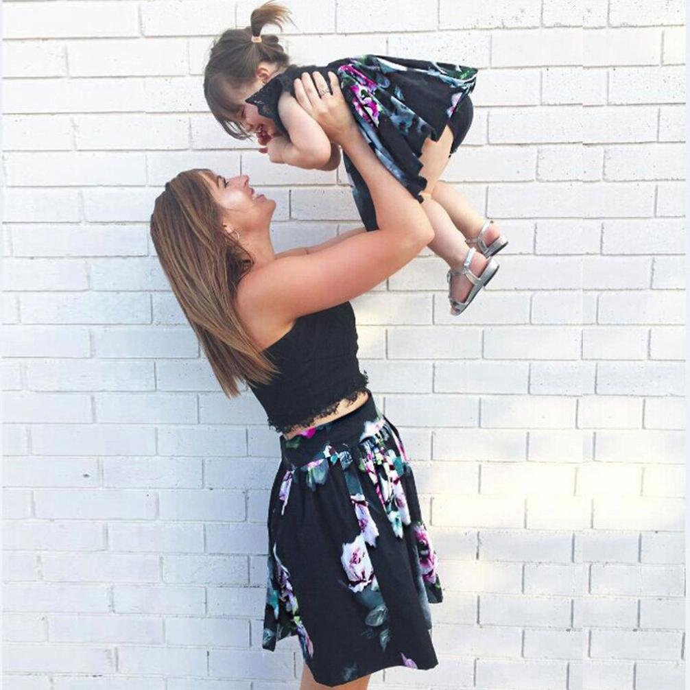 Appoi Mommy and Me,Mom/&Me Familiy Matching Blouse Dress Women Baby Little Girls Family Clothes Top Mother Daughter Set