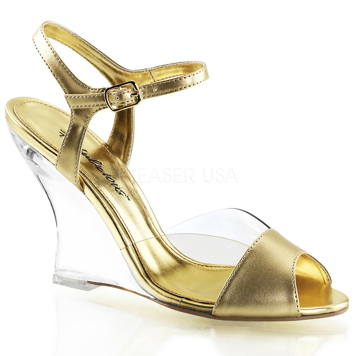 Fabulicious Women's Lovely 442 Ankle Strap Sandals B00JEY1I9K 10 B(M) US Clear Gold Metallic Pu / Clear