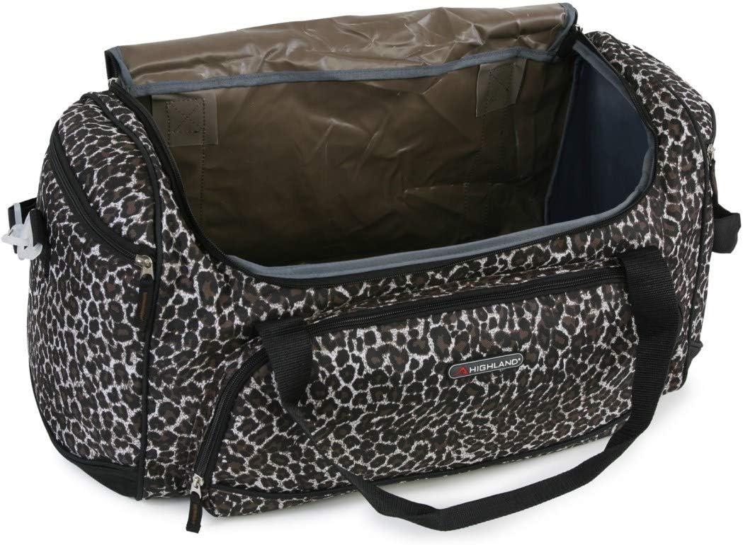 Girls Brown Leopard Theme Carry Duffle Bag Exotic Jungle Zoo Safari Pattern