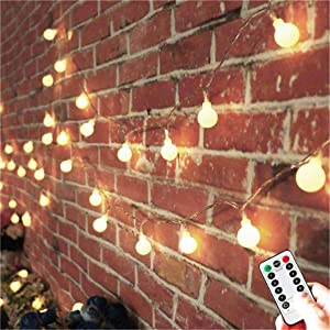 AMARS 33FT Battery Operated Globe String Lights with Remote Timer Bedroom Decor Fairy String Lights for Tapestry, Indoor, Outdoor, Garden (Warm White, 8 Modes, Dimmable)
