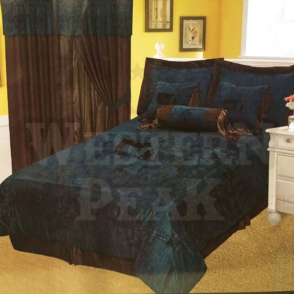 Rustic Turquoise Embroidery Texas Star Western Luxury Comforter Suede 7 Pc Set