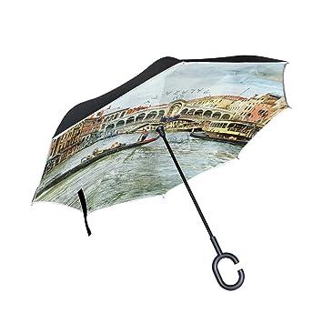 Mi Diario Doble Capa Paraguas invertido coches Reverse paraguas Venecia paisaje Vintage pintura al viento UV