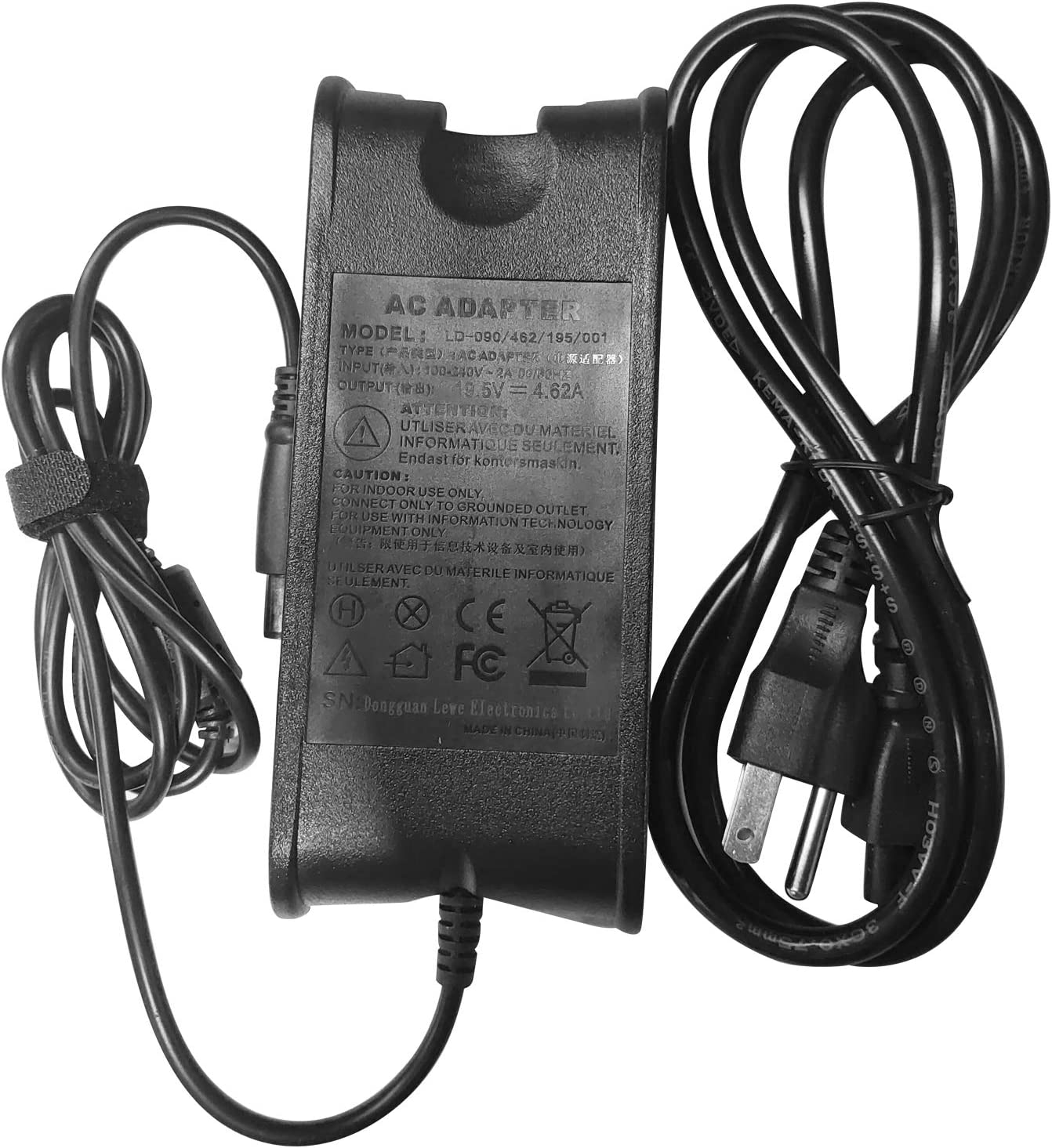 90W 19.5V 4.62A AC Adapter Charger for Dell Inspiron 1525 6000 6400 Dell Latitude Computers 14 (1464) 15 (1525) 14R (N4010) 15R (N5010) LA65NM130 PA-10 + Cord