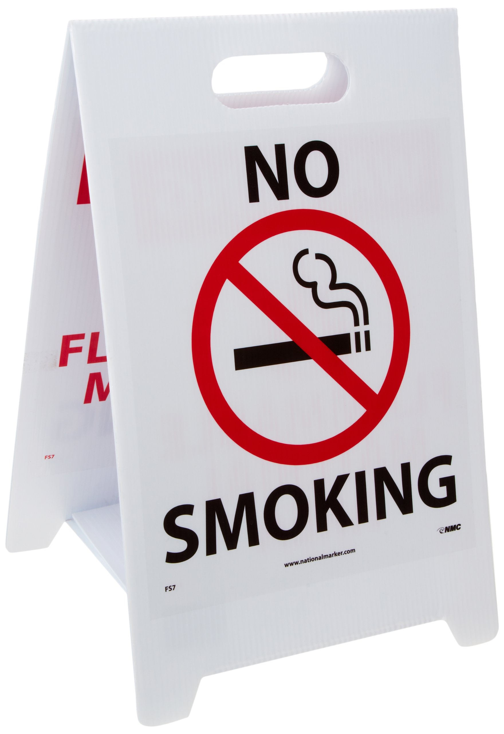 NMC FS7 Double Sided Floor Sign, Legend ''NO SMOKING WARNING FLAMMABLE MATERIAL AREA'' with Graphic, 12'' Length x 20'' Height, Coroplast, Black/Red on White