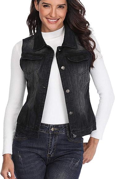 90e3b02633e0 Denim Vest for Women Distressed Classic Button Sleeveless Jean Jacket Black  XS
