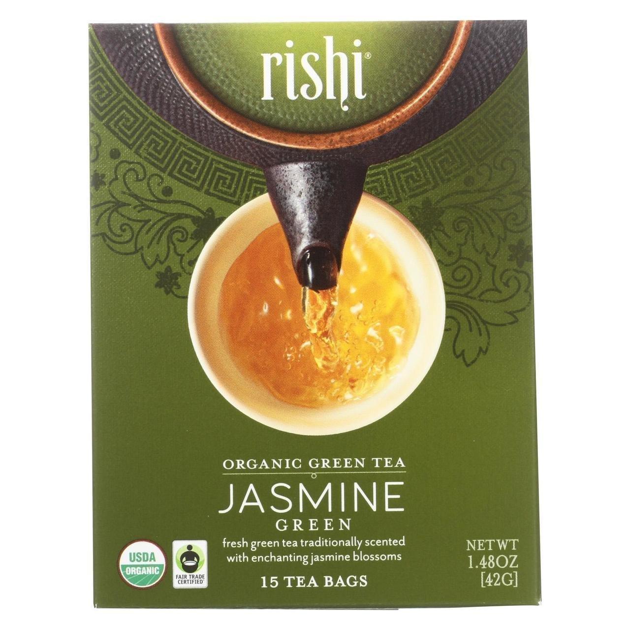Rishi Jasmine Tea, Organic Green Tea Sachets, 15 Count Tea Bags