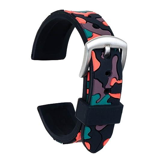 1c8d0f6de76a Ullchro Correa Reloj Calidad Alta Recambios Correa Relojes Caucho Camuflaje  Hombre Mujer - 18mm