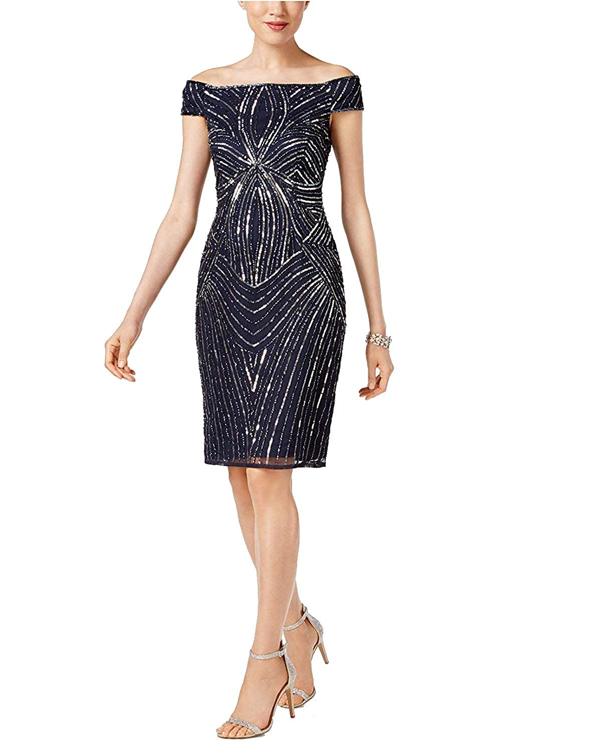 0f7fd4dbe69cb Adrianna Papell Women's Sequined Off-The-Shoulder Sheath Dress Navy  Gunmetal 12 at Amazon Women's Clothing store: