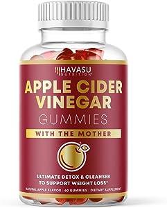 Havasu Nutrition Apple Cider Vinegar Gummies for Detox Cleanse & Belly Control; Organic ACV with Mother Enzyme; 60 Vegetarian Gummies (60 Ct)