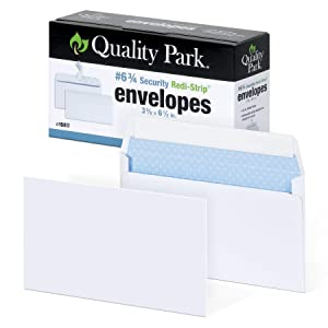 "Quality Park #6 3/4 Self-Seal Security Envelopes, Security Tint and Pattern, Redi-Strip Closure, 24-lb White Wove, 3-5/8"" x 6-1/2"", 100/Box (QUA10417)"