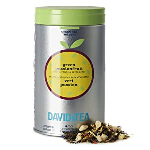 DAVIDsTEA Green Passionfruit Loose Leaf Tea Perfect Tin, Premium Green Tea with Pineapple and Passionfruit, Fruity Iced Tea, 3.8 oz / 108 g