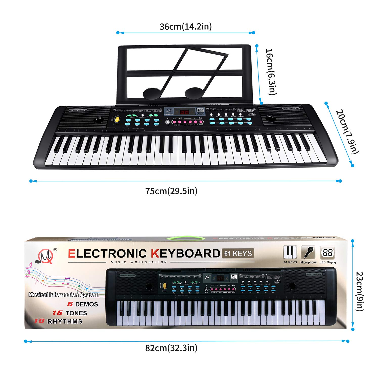ZJTL 61-Key Digital Electric Piano Keyboard & Music Stand & microphone- Portable Electronic Keyboard (Kids & Adults) MQ-6112 by ZJTL (Image #6)
