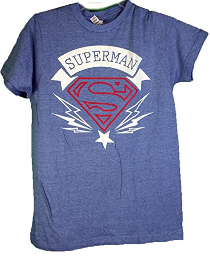 f3c8f52b Image Unavailable. Image not available for. Color: DC Superman Logo Tee  Shirt With Lighting Bolt Small Blue