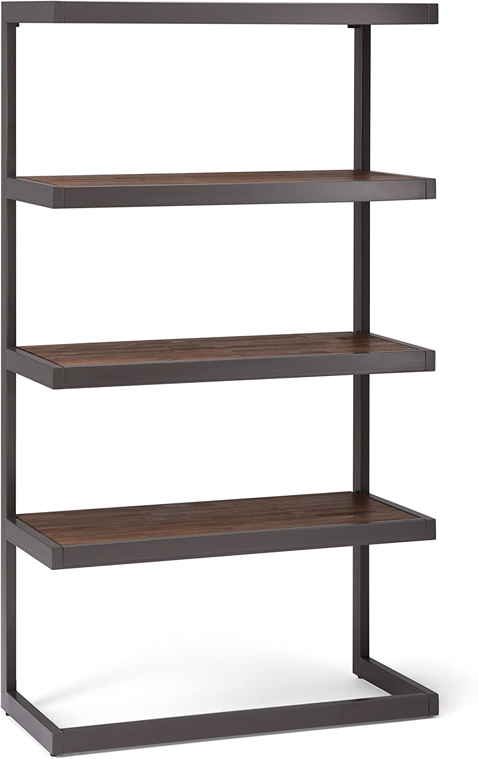 Simpli Home AXCERN-12 Erina Solid Acacia Wood and Metal 66 inch x 36 inch Modern Industrial Bookcase in Rustic Natural Aged Brown