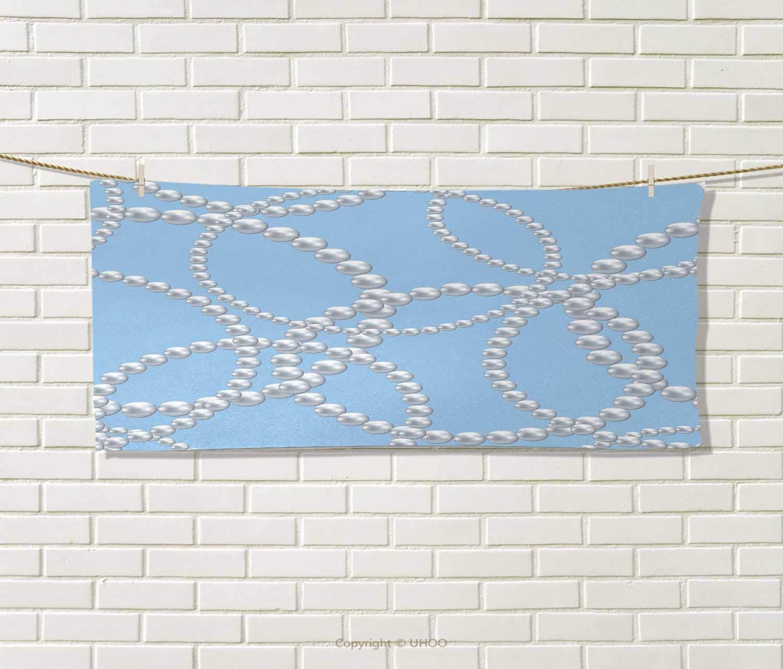 Anniutwo Pearls,Sports Ttowel,Pearl Necklace Bracelet Classic Women Bridal Groom Shower Theme Feminine Art,Absorbent Towel,Baby Blue White Size: W 12'' x L 35.5''