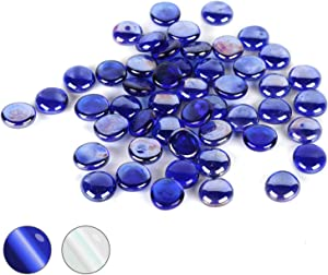 Houseables Glass Stone, Marbles, Pebbles for Vases, 5 LB, 400-500 Stones, Blue, Flat Bottom, Round Top, Rocks, Bowl Filler Gems, Iridescent Decor, Decorative Centerpieces, Florist Supplies, Aquarium