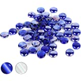 Houseables Glass Stone, Marbles, Pebbles for Vases, 5 LB, 500-600 Stones, Blue, Flat Bottom, Round Top, Rocks, Bowl Filler Gems, Iridescent Decor, Decorative Centerpieces, Florist Supplies, Aquarium