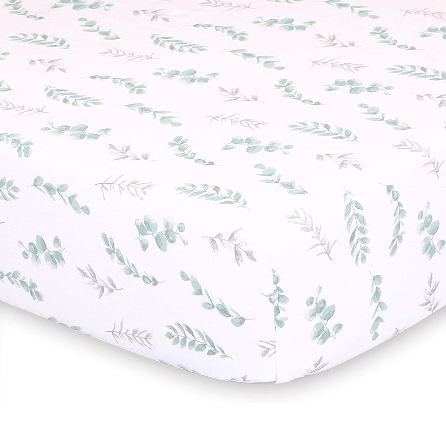 Sage Green and Grey Leaves Fitted Baby Crib Sheet - Farmhouse Collection by The Peanut Shell