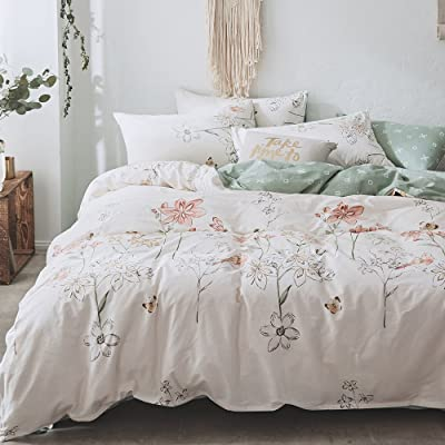 BHUSB Floral Branches Print Duvet Cover Set Queen Size Cotton 3 Piece Bedding Sets Reversible Pastoralism Flower Pattern Comforter Cover Set Full Size,Zipper Closure & Corner Ties: Home & Kitchen