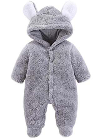 85dde85fc5b Amazon.com  LOTUCY Newborn Baby Boys Girls Cartoon Bear Ears Warm Fleece Hooded  Romper Jumpsuit  Clothing