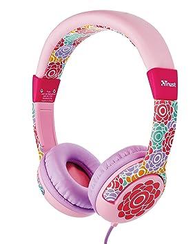 Trust Urban Spila - Auriculares para niños con limitador de volumen, rosa