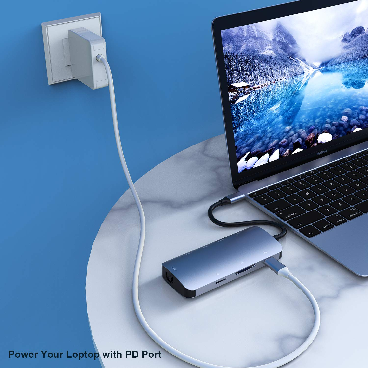USB C Hub AdapterVILCOME 8in1 USB C Adapterwith 4K USB C to HDMISDTF Card Reader and Ethernet3 USB
