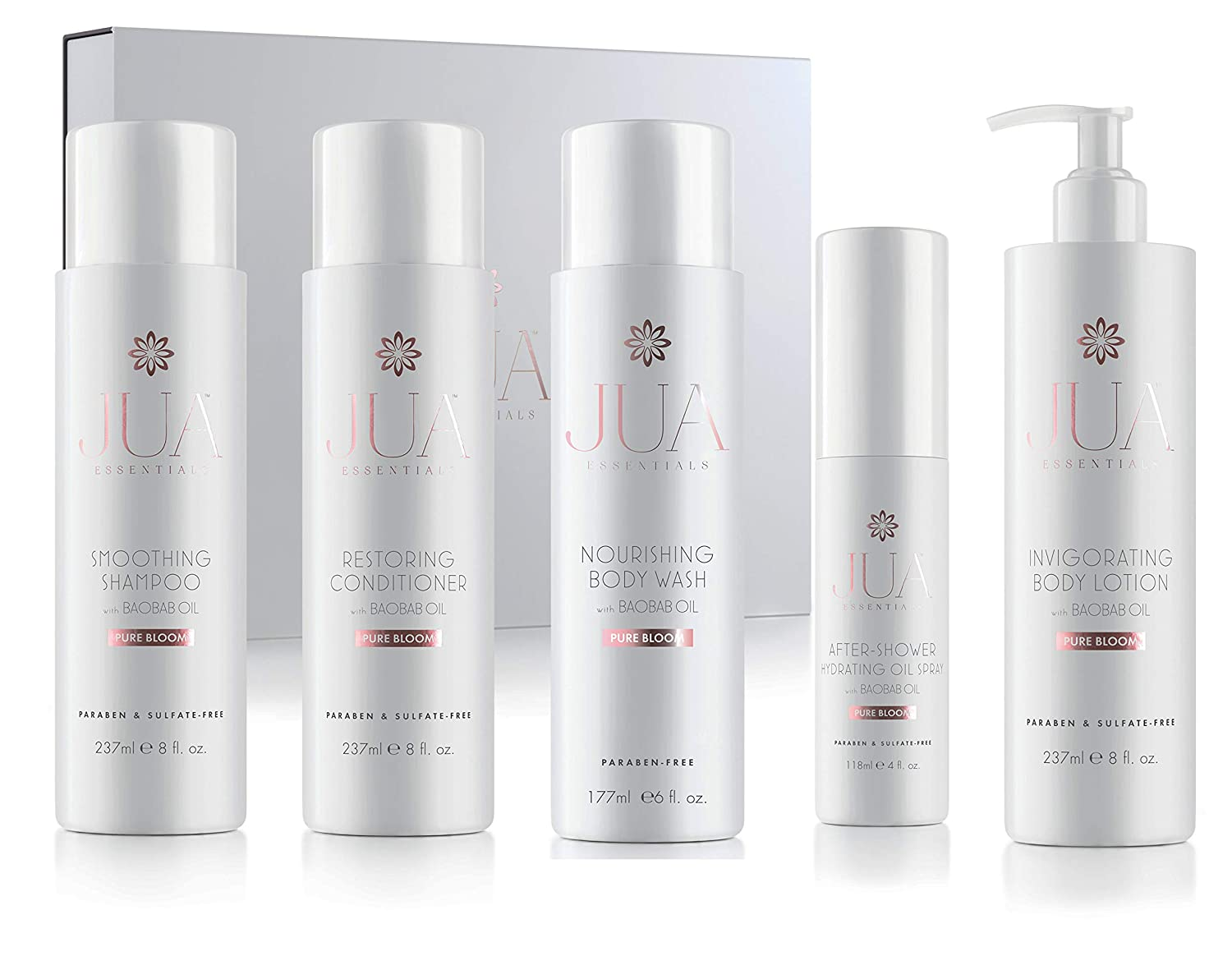 JUA Essentials - Premium Hair & Skin Care Collection - Gift Set with Nourishing Body Wash, Revitalizing Shampoo, Restoring Conditioner, After-Shower Hydrating Oil & Moisturizing Lotion By Hill Harper.