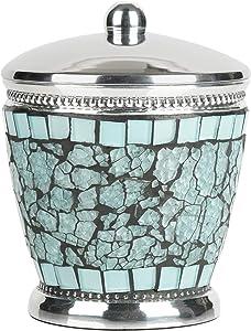 nu steel Iceberg Qtip Dispenser, Bathroom Vanity Metal Storage Organiser, Canister,Apothecary Jar for Cotton Swabs, Rounds, Balls, Aqua Mosaic Finish