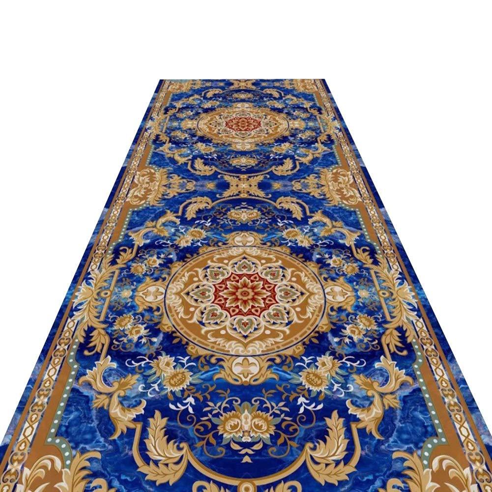 HAIPENG 廊下のカーペット 青 廊下 ランナー 入り口 敷物 洗える 床 カーペット 滑り止め エリアラグ イージークリーン エントランス マット フォーマル カスタマイズされた (色 : A, サイズ さいず : 1.6x6m) 1.6x6m A B07P8DQGCK