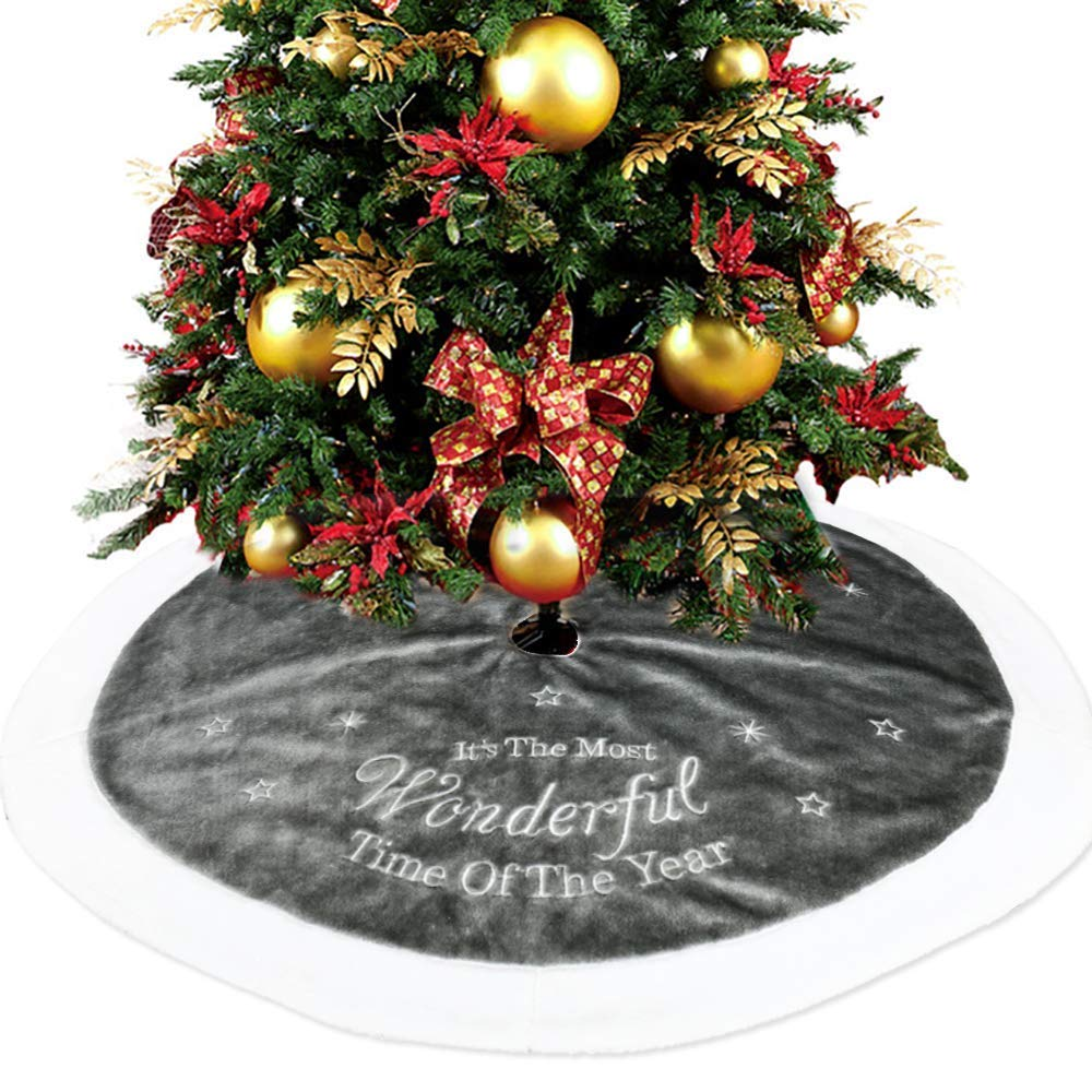 Grey Christmas Faux Fur Tree Skirt with Round Trim Xmas Tree Skirt Base Cover Christmas Decoration wide smile
