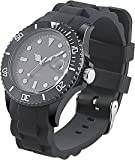 St. Leonhard Sportliche Silikon-Quarz-Armbanduhr, Lupen-Mineralglas, schwarz