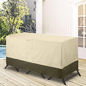 """SunPatio Bar Set Cover 100% Waterproof, Outdoor 3 Pieces Furniture Set Table and Chairs Cover, 600D Heavy Duty Patio Furniture Cover, UV & Rip & Fade Resistant - 80"""" W x 32"""" D x 30"""" H, Beige & Olive"""
