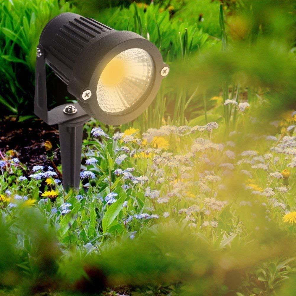 2 Packs Patio Luz de Paisaje al Aire Libre 220V Focos de exterior con enchufe Cesped de iluminaci/ón Para Calzada Pathway 5W LED Impermeable IP65 Jard/ín