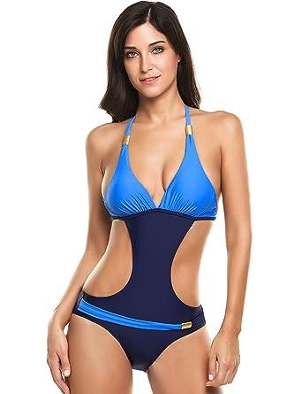 e8d5729d47 Locryz Women's High Waist Push Up Padding Cut Out Contrast Color Bikini  Swimsuit(S,