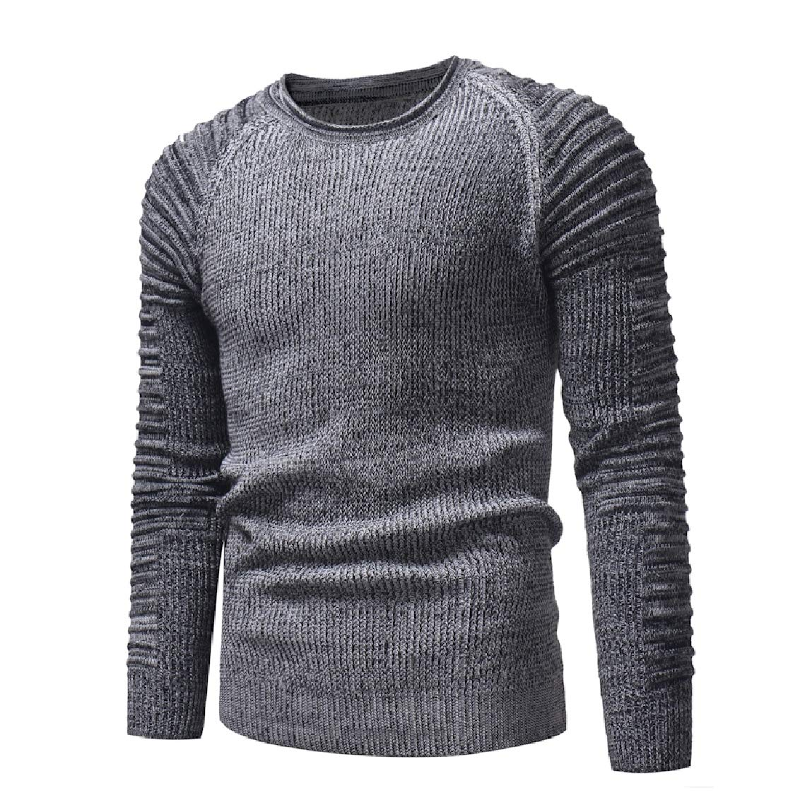 Freely Mens Knitwear Pleated Long-Sleeve Classic Pullover Crewneck Sweaters