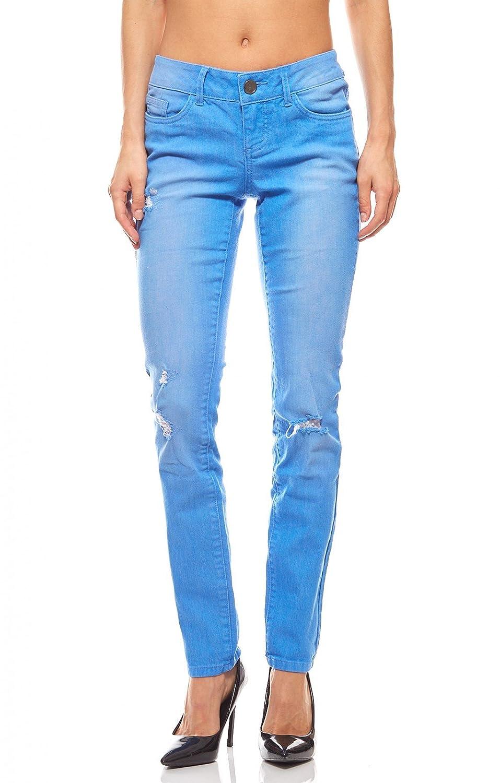 AJC Hose Skinny Jeans Damen Kurzgröße Sommer Destroyed Blau