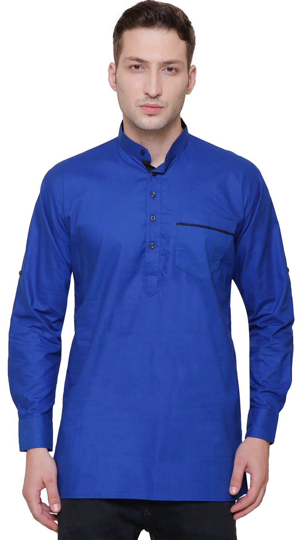 Maple Clothing Short Kurta Shirt Men's Fine Cotton Designer Indian Fashion Clothes (Blue, S) by Maple Clothing (Image #1)