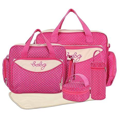 HALOViE Set 5 kits Bolsa de Mama para Bebe Biberon Cambiador de Pañales Bolsa Hospital Maternidad Bolso Bebé para Viaje Carro Carrito Biberón ...