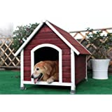 Petsfit Wooden Dog Kennel with Asphalt Roof,Wine Red Outdoor Dog House with Removable Floor for Easy Cleaning, 112cm x 96cm x 105cm (Large)