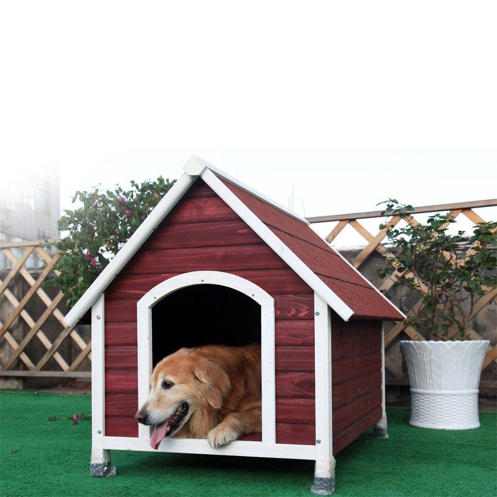 Petsfit Holzhundehütte mit Asphaltdach. Weinrotes Außenhundehaus mit abnehmbaren Boden für einfache Reinigung - 112 x 96 x 105 cm (groß)
