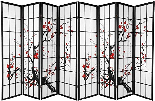 Legacy Decor 8 Panels Room Divider Blossom Print Black Color