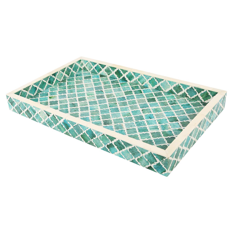 Handicrafts Home Decorative Tray Inspired Vintage Moorish Moroccan Art Handmade Naturals Bone Inlay Quatrefoil Designer All Purpose Serving Tray, Breakfast, Coffee, Table Top from (Green & White)