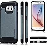 TURATA Slim Dual Layer Hard Plastic TPU Bumper Case for Samsung Galaxy S6 - Gray