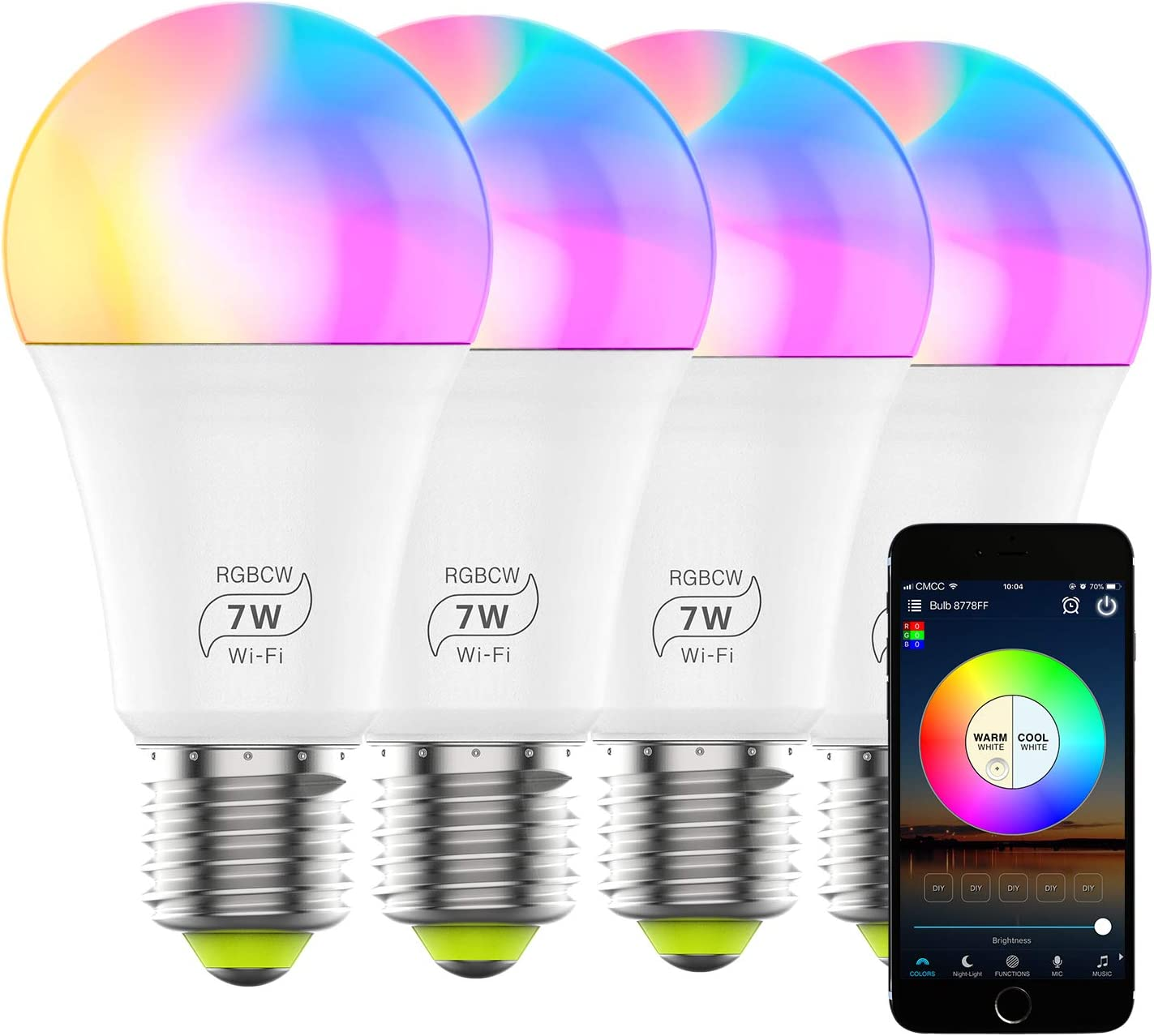 Smart Light Bulb Dimmable RGBCW WiFi Color Changing Light Bulb A19 E26 2700K-6500K 60 Watt Equivalent Sync to Music Works with Alexa, Echo, Google Home and IFTTT for Home Decor, Party(4 Pack)