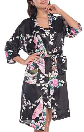 2 Unidades Set Mujeres Seda Peacock Kimono Batas Lencería Sexy Boda Boda Dama de Honor Bata de baño de satén Pijama: Amazon.es: Ropa y accesorios