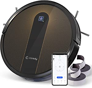 Coredy R700 Robot Vacuum Cleaner, Compatible with Alexa, Boost Intellect, Virtual Boundary Supported, 1600Pa Max Suction, Ultra Slim, All-New Upgraded Robotic Vacuums, Cleans Hard Floor to Carpet