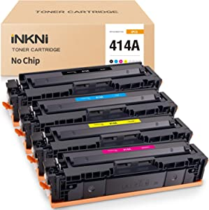 INKNI (No Chip) Compatible Toner Cartridge Replacement for HP 414A W2020A W2021A W2022A W2023A for Laserjet MFP M479fdw M479fdn M479 Laserjet Pro M454dn M454dw (Black Cyan Magenta Yellow, 4-Pack)