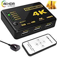 OraimaTM 5 Port 5 in 1 5X1 HDMI Switch with Remote Control Switcher Selector Box Hub IR Supports High Speed HD 1080P 3D 4K IDEO Audio Auto Switching HDCP 5 in 1 Out 5 Input 1 Output