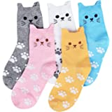 Cute Animal Socks for Women 5 Pairs, Funny Dog Socks and Cool 100% Cotton Art Painting Cat Socks Women